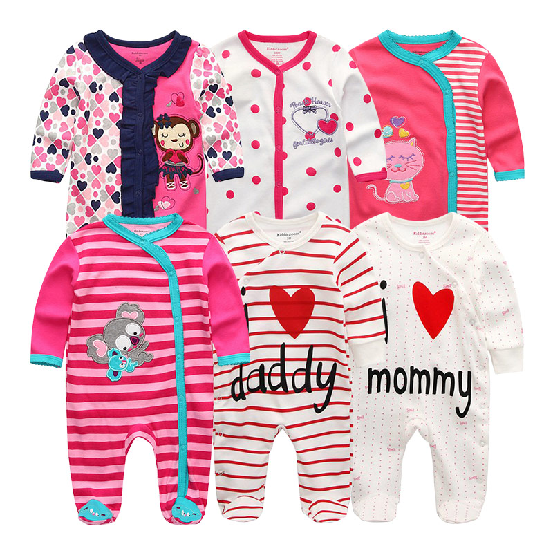 Newborn Baby Clothes Girls Boys Rompers 6Pcs sets Clothing Jumpsuits Costume 100 Cotton Unisex roupas de