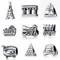 Travel Series 925 Sterling Silver European Beads Silver Charms Fit diy Snake Chain Bracelet Women
