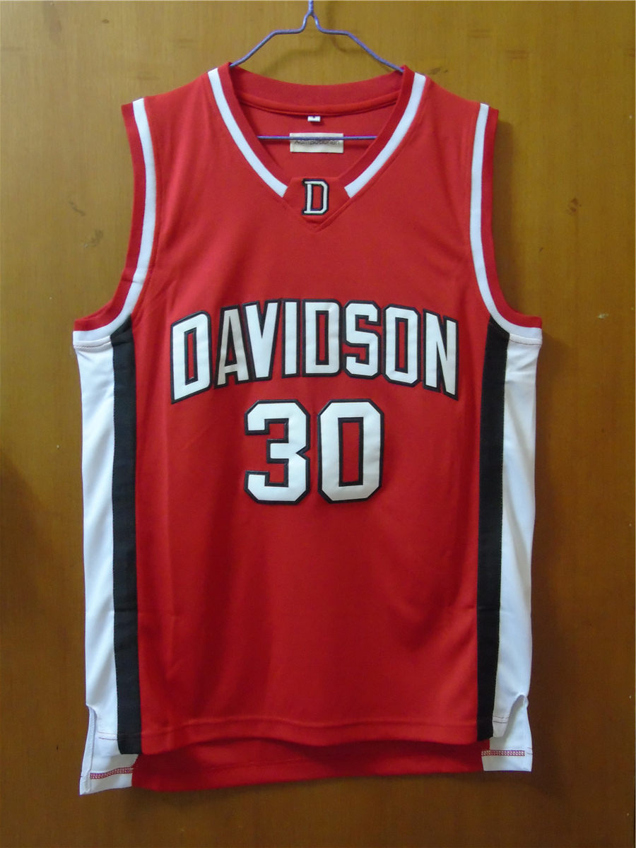 ... Aembotionen Stephen Curry 30 Davidson College WhiteRed Retro Throwback Stitched  Basketball Jersey Sewn Camisa Embroidery Logos ... 956b53f67