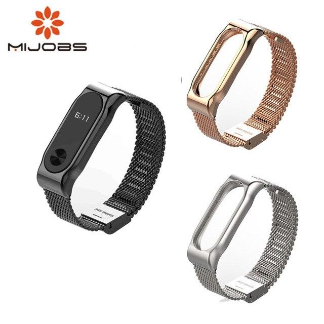 Mi jobs mi Band 2 correa de Metal pulsera sin tornillos de acero inoxidable pulseras reemplazar accesorios para Xiaomi mi Band 2