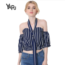 2017 new sexy bra five European striped jacket sleeve navel Ladies Cotton Shirt