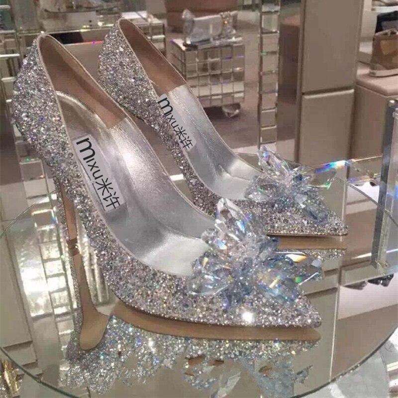 Diamant Cristal 2018 De Blanc Hong Talon Mariée Kong Dames Pointu Discothèque Mince Chaussures Cendrillon Flash UqPfrqxI