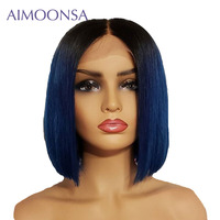 13x6 Aimoosa Lace Frontal Blue Human Hair Wigs Ombre 13x6 Short Remy Hair Wigs with Baby Hair For Women Brazilian Remy Bob Wig