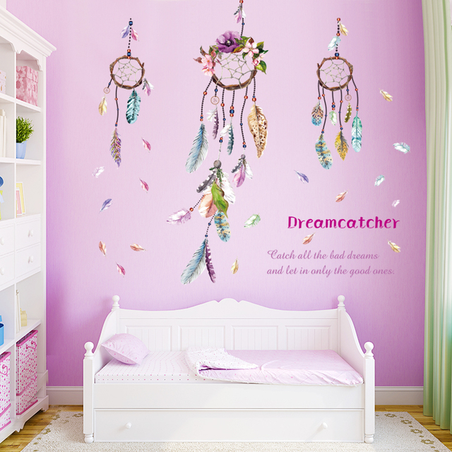 Dreamcatcher Campanula quote feather home decal wall sticker family ...