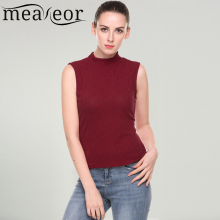 6fb70694649 Meaneor Women Tank Tops Casual Hollow Out Vertical Striped Design Stand Collar  Sleeveless Solid Elastic Knit