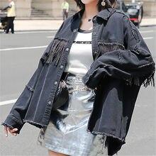 3bbe15e6c08 Для женщин джинсовая куртка с заклепками и кисточками шить заусенцев дизайн  осень 2019 г. Мода Harajuku атмосферу повседневное с.