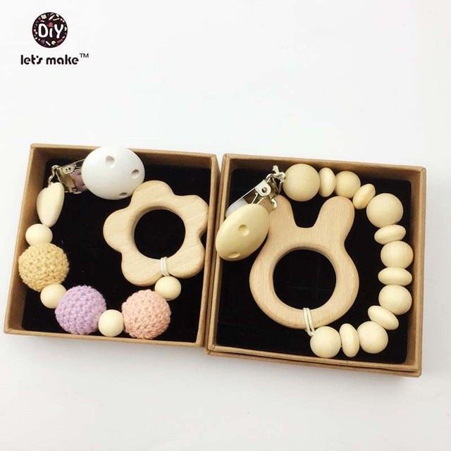 Wooden Baby Toy - Teething Ring Set  Untreated Maple Teether with Organic Cotton Gift Bag - Most Popular Baby Gift fromBaby