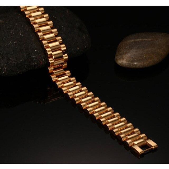 Vnox Bracciale uomo Oro-colore Chunky Catena Braccialetti Braccialetti In Acciaio Inox Maschile Gioielli