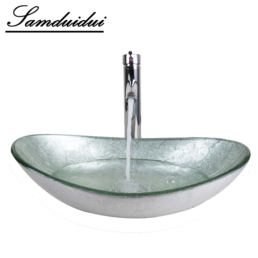 Bathroom Washbasin Countertop Tempered Glass Basin Sink Faucet Set Brass Waterfall Faucet Washroom Vessel Vanity Bar Ship