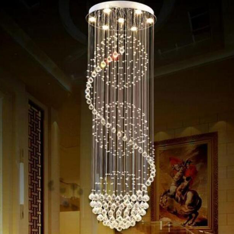 Image 5 - Modern Long LED Spiral Living Crystal Chandeliers Lighting Indoor Fixture for Staircase Stair Lamp Showcase Bedroom Hotel Hall-in Chandeliers from Lights & Lighting