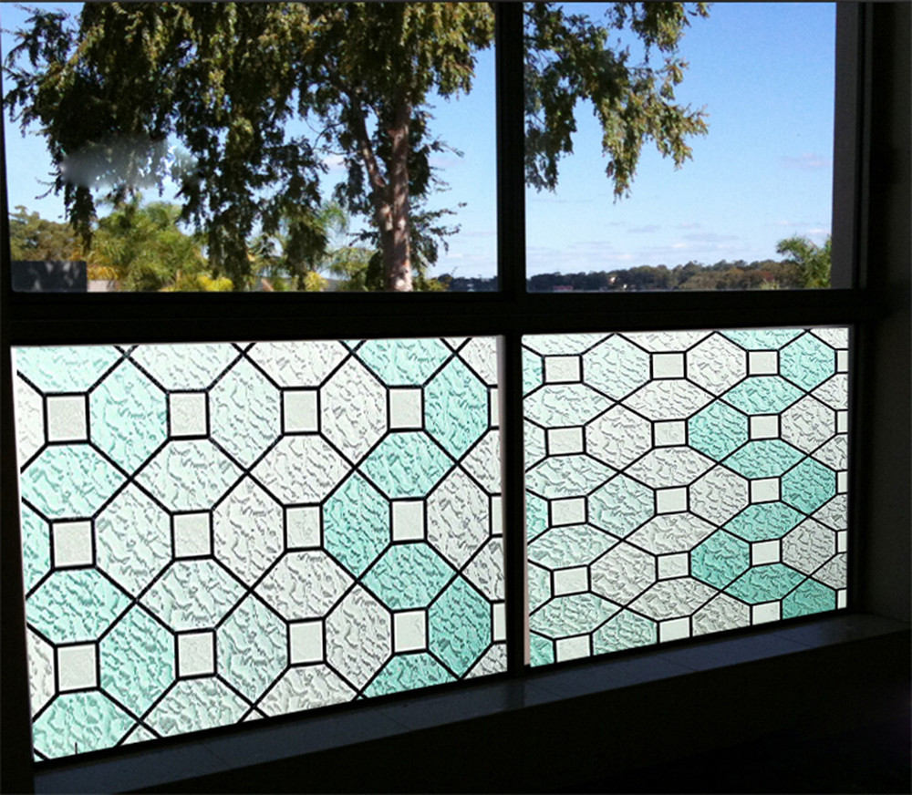 Stained Glass Panel Window Film No Glue 3D Static Privacy Decorative UV  Protect 36
