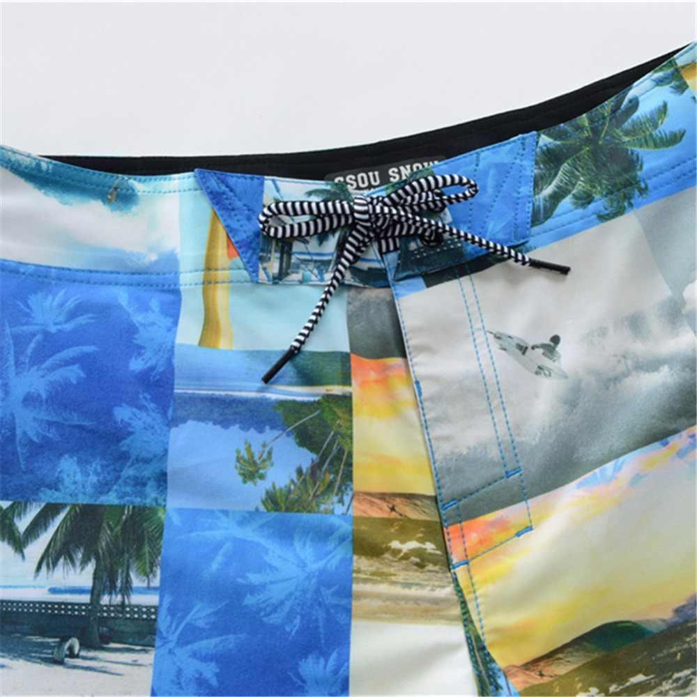 Gsou Snow Бренд Пляжные Шорты Человек 2017 Купальники Quick Dry Печатных Серфинг Шорты Высокое Качество Мужскые Водные Мотобот Спортивные Шорты