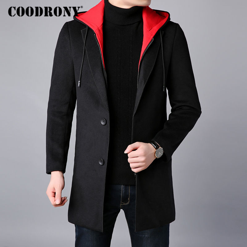 Coodrony Men Coat Winter Thick Warm Wool Coat Men Clothes 2018 Slim Fit Long Coat With Hood Jacket Mens Overcoat Mens Coats C002