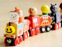 Free shipping, wooden toy cars,magnetic 6 PCS small train, magnetic bread superman, educational toys