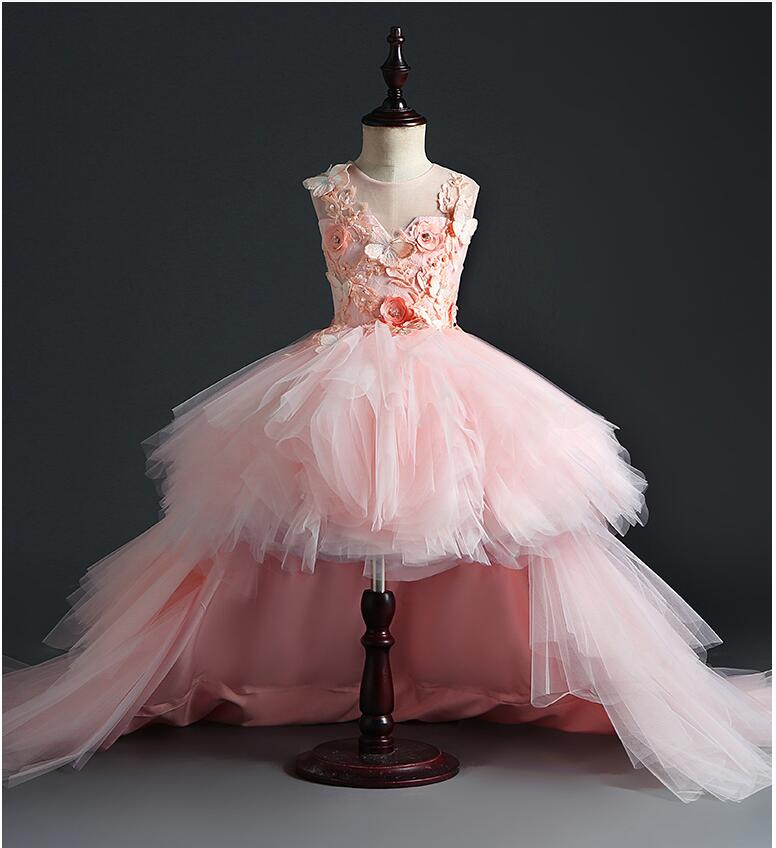 Long Trailing Baby Girl Dress Pink Tulle Baptism Dress 1 Year Birthday Party Christening Gown Infant