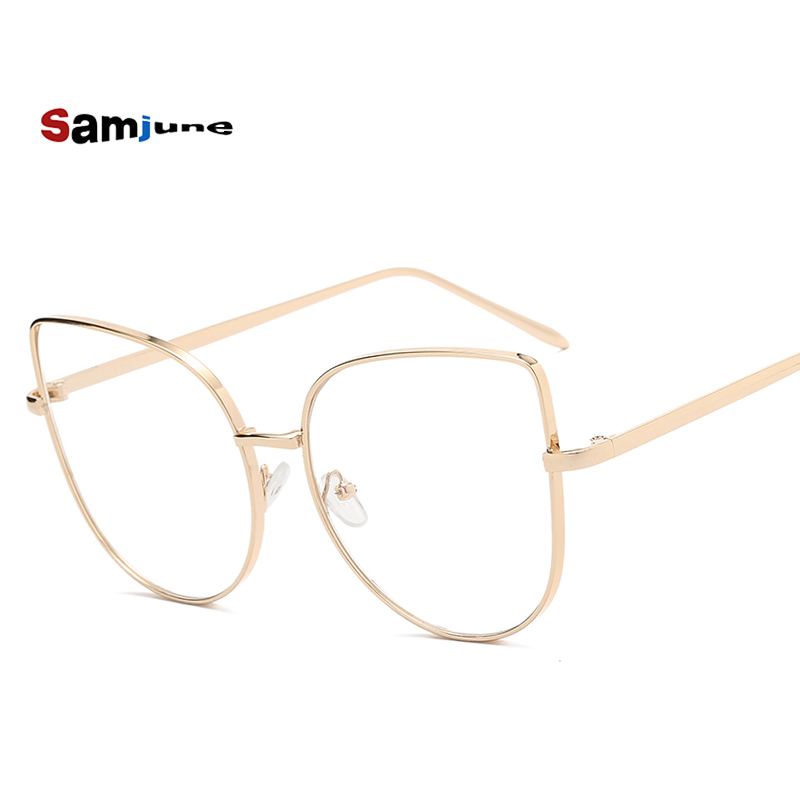 Oversize Women Metal Cat Eye Glasses Frame Brand Designer Fashion Men Clear Lens Eyeglasses Eyewear Glasses Frame For Women