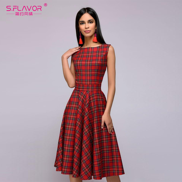 US $15 95 43% OFF S FLAVOR Scottish plaid long dress 2019 Spring Summer O  neck sleeveless thin A line casual vestidos Beauiful women sexy dress-in