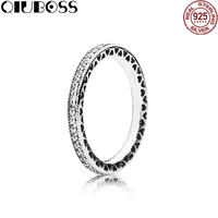 QIUBOSS 100% Sterling silver 190963CZ HEARTS OF SILVER STACKABLE Ring Original Women wedding Fashion Jewelry
