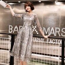 Коктейльные платья с блестками, блестящие, с рукавом три четверти, с кисточками, с круглым вырезом, вечерние платья, сексуальные, кружевные, размера плюс, длина до середины икры, вечерние платья E366