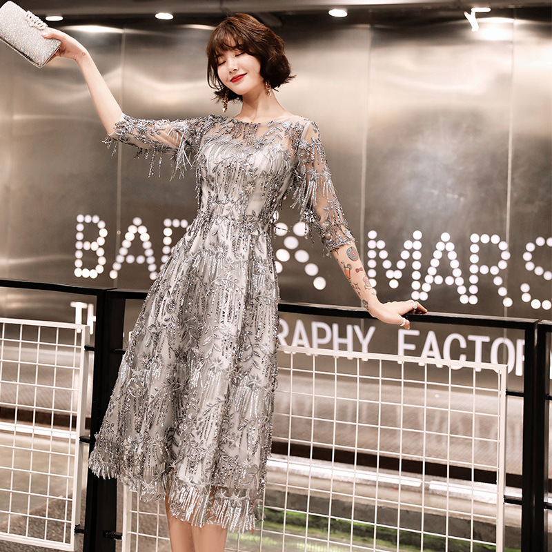 Sequined Cocktail Dresses Shining Three Quater Sleeve Tassel O-neck Party Dress Sexy Lace Plus Size Tea Length Formal Gowns E366