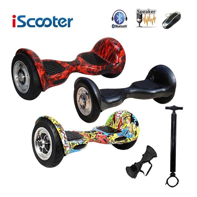 Iscooter bluetooth hoverboard 10 дюймов электрический skateboar 2 колеса самостоятельно балансировки электрический скутер два смарт-колесо с дистанционным ключом