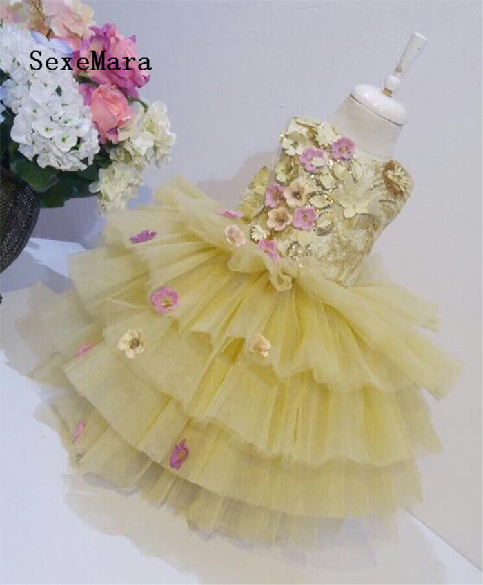 Luxury 3D Flowers Sequins Girls Dresses for Wedding O Neck Knee Length Baby Girls Birthday Dress Pageant Gown Party Dress