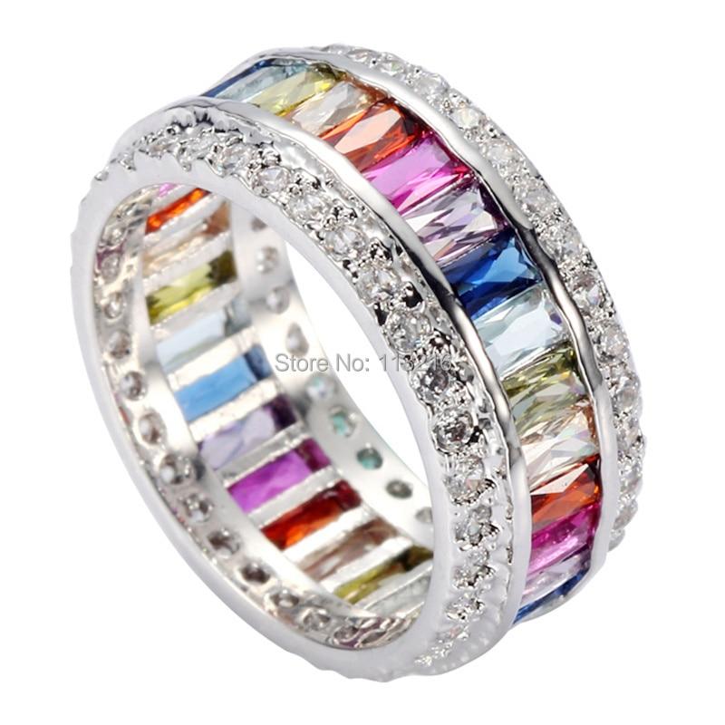 Fleure Esme vintage Noble women rings Peridot Morganite Blue Purple Pink Red Cubic Zirconia Rhodium Plated R489 size 6 7 8 9 10