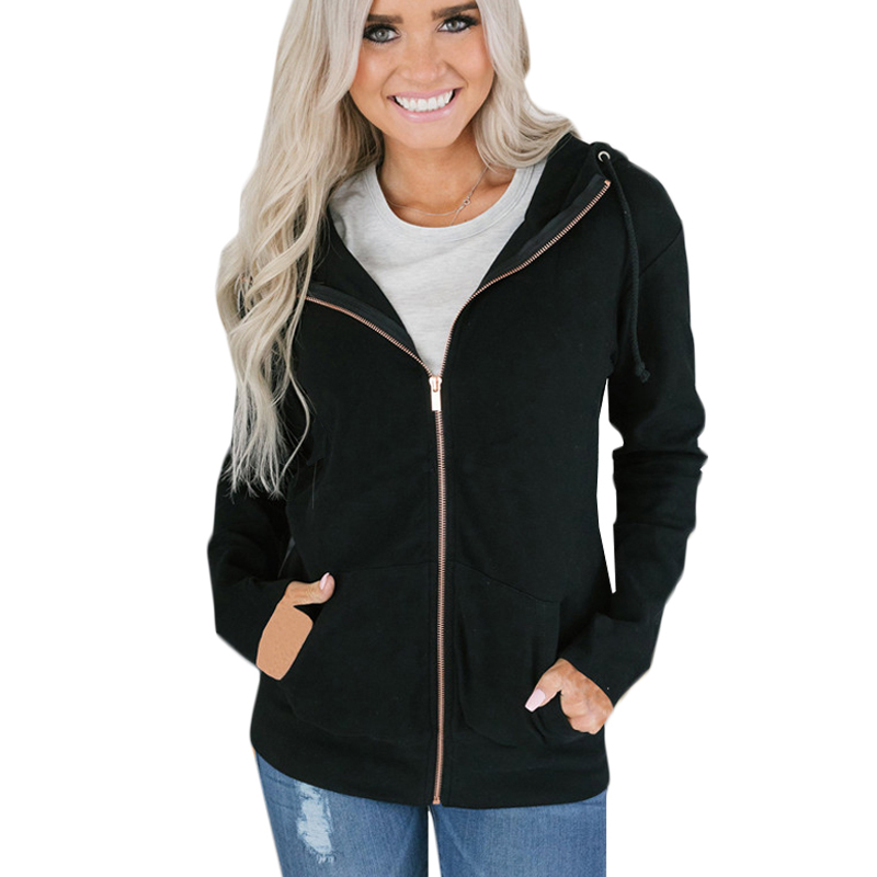 2019 Oversize Hooded Sweatshirt Women Long Sleeve Autumn Spring Coat Patchwork Pocket Zipper Hoodie Plus size Zip-up Ladies Tops