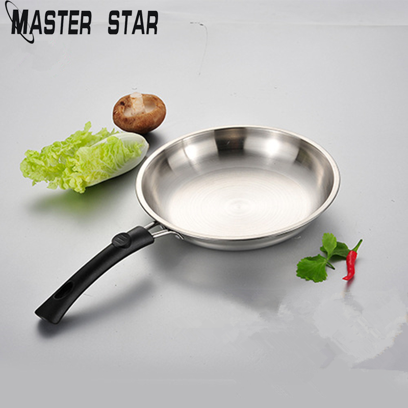 Master Star 22cm Stainless Steel Frying Pans Egg Steak Pans General Use For Gas And Induction Cooker