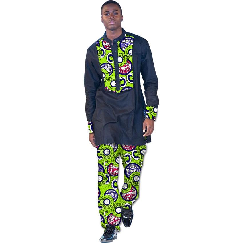 Afrikaanse print kleding heren tops + broek set shirts en broek feestelijke kostuum afrika stijl mannen mode kleding op maat
