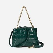 Rahat timsah zincirleri postacı çantası kadın 2019 tasarımcı timsah desen omuz çantası Crossbody bayanlar basit telefon çantalar