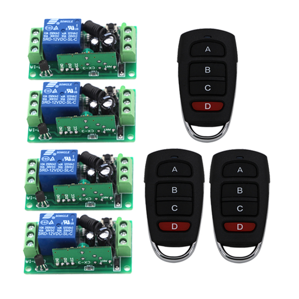 Hot Sales 1 Channel DC 12V RF Wireless Remote Control Switch 4 Receiver +3 Transmitter with 4 Buttons 3410 dc 12v 2ch 2 channel wireless rf remote control switch 3 transmitter and 1 receiver for wireless system 3312