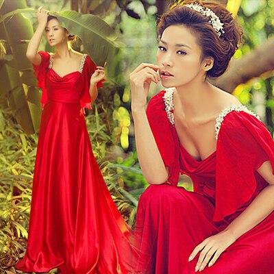 red chiffon cap sleeve crystal hot sexy long 2018 new design beading vestido de noiva longo prom Formal gown   bridesmaid     dresses
