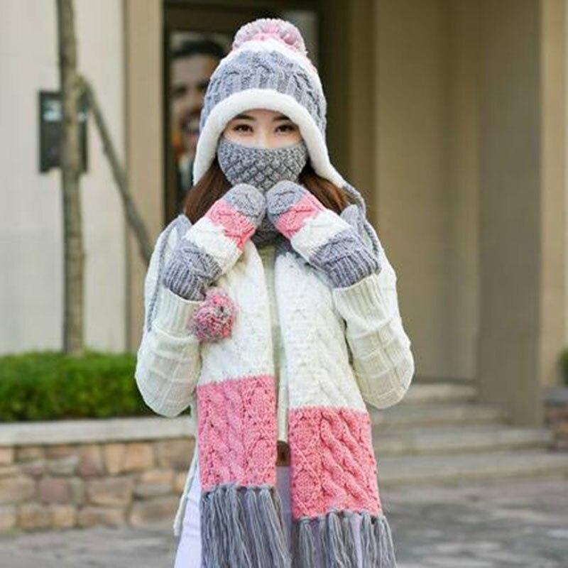 dd1b2a8c209 Woman Winter Hat and Gloves Sets Imitation Wool Fashion Women Hat Scarf Gloves  Set Solid Hat and Scarf Set for Women Knitted-in Scarf