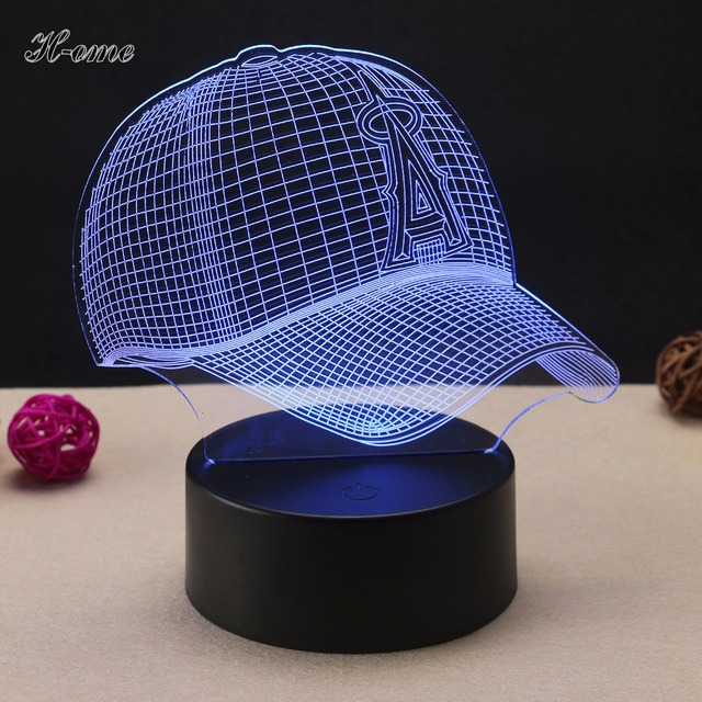 Baseball Cap Lamp 3D LED Night Light Touch Switch Table USB 7 Color Room Decor