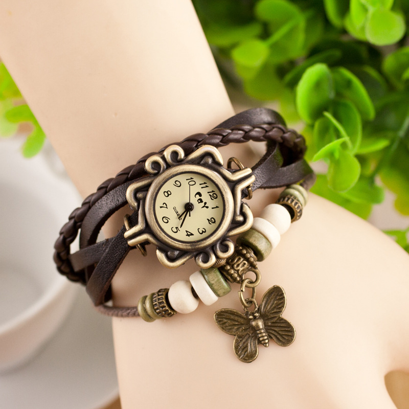 Fashion Geneva Watch Women Leather Woven Strap Butterfly Pendant Wristwatches Vintage Bracelet Quartz Watches Relogio Feminino