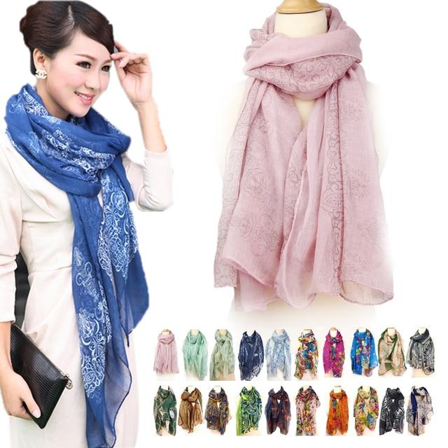 Women Cotton Scarf Scarves Vintage Shawl Linen Voile Floral Pattern Unique Design