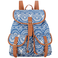 Sansarya Black Blue Vintage Retro Bohemian Style Printing Canvas Drawstring Bag School Bags Backpacks For Teenage Girls