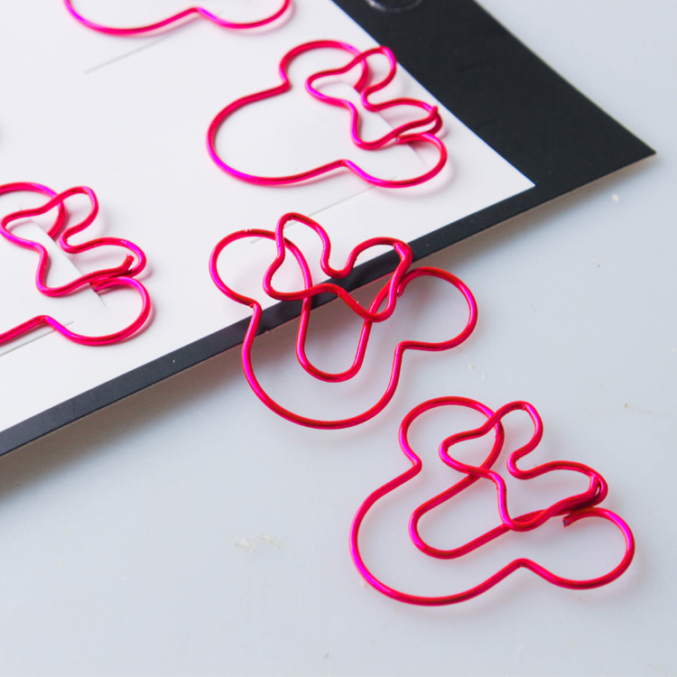 Red Color Mouse Cute Clip Creative Special-shaped Pin Clip Paper Clip Bookmark Office Accessories Paperclips Metal Paper Clips