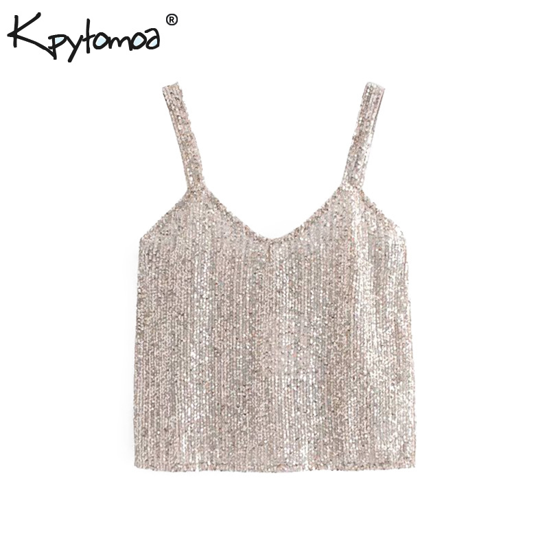 Vintage Sexy Shiny Sequin Strap Tops Women Camis 2019 Fashion Sleeveless  Backless Streetwear Ladies Blouses Casual 79977a62b2f6