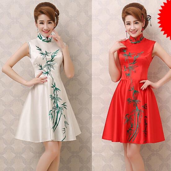 Us 45 8 Beautiful Chinese Traditional Fashion Ladies Ivory Short Bridesmaid Dresses Bride Maid Dress For Wedding Free Shipping B2360 In Bridesmaid