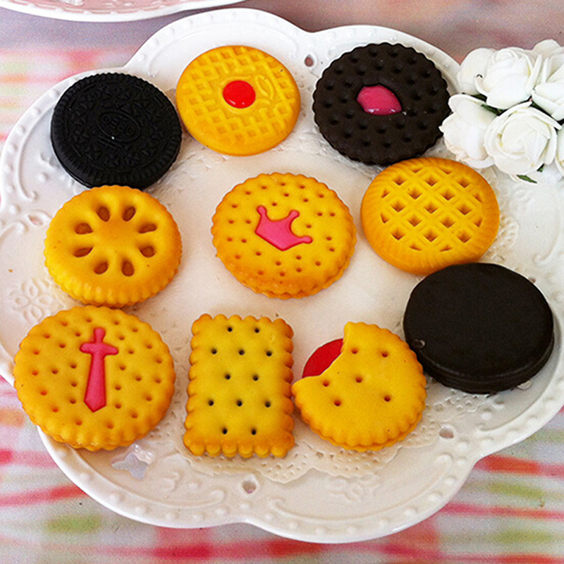 Random Cute Artificial Simulated Cookie Biscuits Kitchen Toys Food Pretend Play DIY Decorative Craft Scrapbooking Accessories