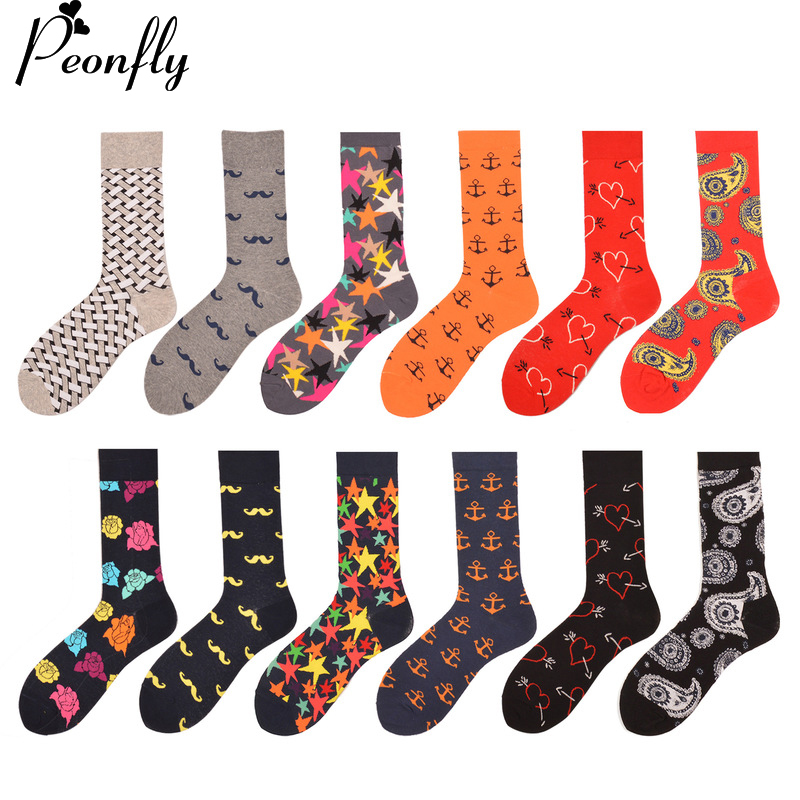 PEONFLY 12 pairs/lot Funny Men's Combed Cotton Socks Beard Anchor Casual Crew Socks Party Dress Happy socks Wedding Gifts