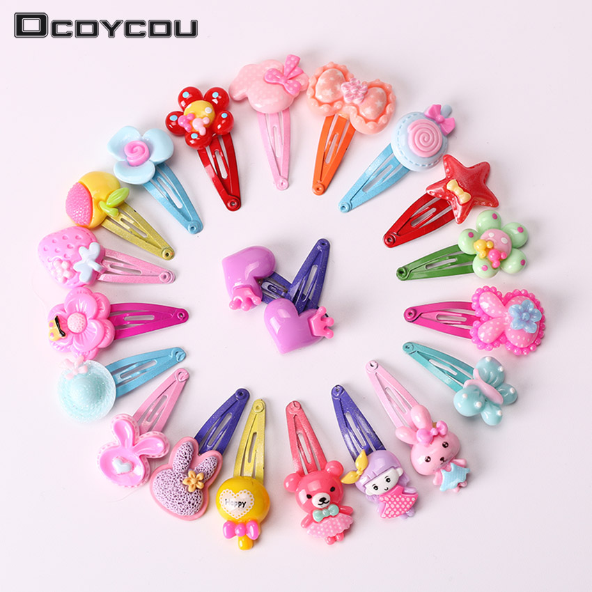 10PCS Mix Color Barrette Baby Hair Clip Cute Flower Solid Cartoon Handmade Resin Children Hairpin Girl Hair Clip Accessories(China)