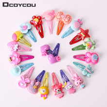 10PCS Mix Color Barrette Baby Hair Clip Cute Flower Solid Cartoon Hand
