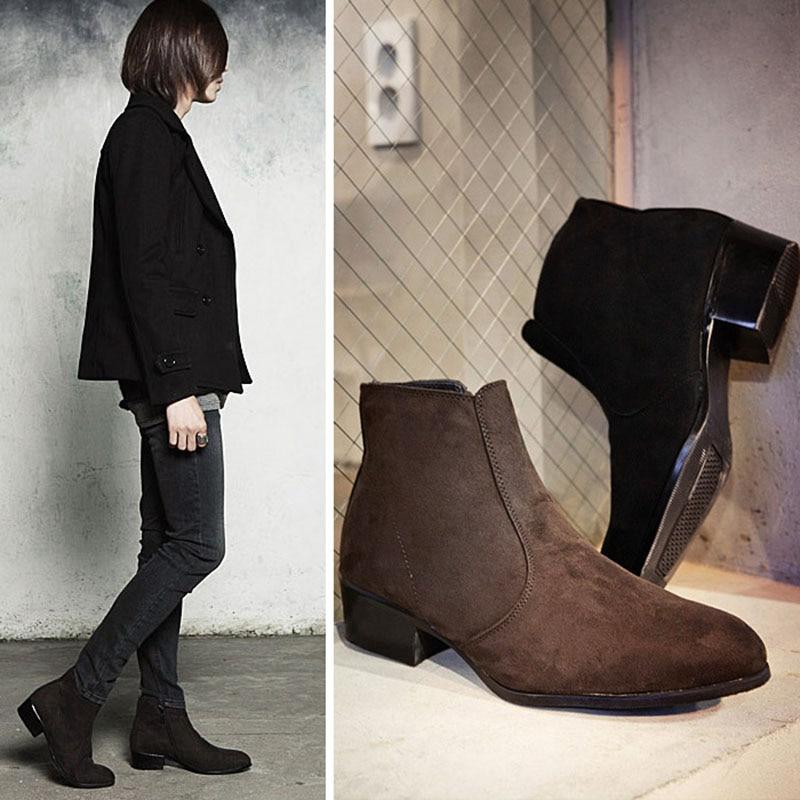 челси сапоги мужчины высокий верх ботильоны острым носом стая нубук бренд зимняя обувь модные мужские сапоги t112 бесплатная доставка