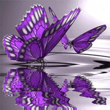 3D Diy Diamond Painting Purple Butterfly On The Water Full Square Rhinestone Handcraft Cross Stitch  Embroidery inverted purple butterfly print draw diamond drawing