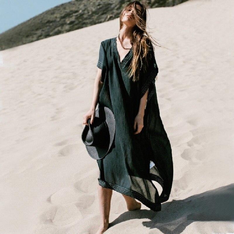 Long Beach Cover Up Pareos De Playa Mujer Beach Wear Plus Size Bikini Cover Up Robe Plage Sarong Black Beach Tunic