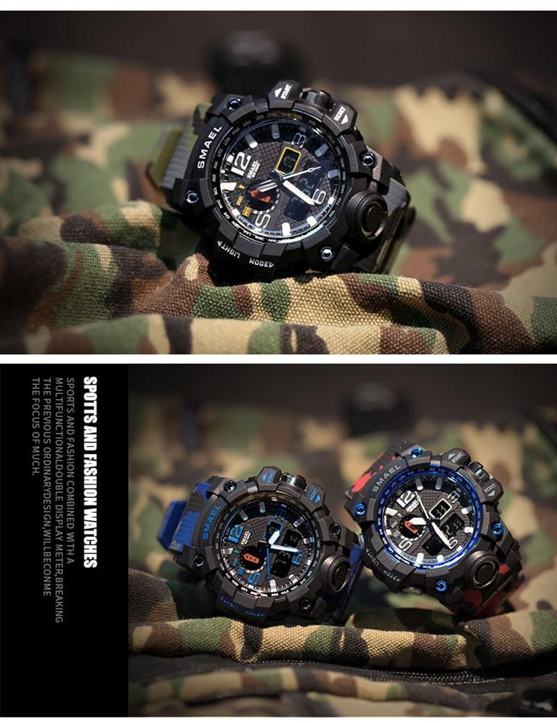 SMAEL 2019 Men's Sport Wrist Watch Military Waterproof Man Dual Display Analog Digital Watch electronic Clock erkek kol saati (11)