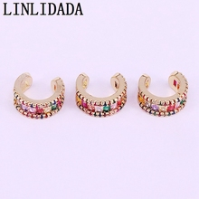 5Pairs,Gold Color Micro Pave Rainbow CZ Zirconia Gold No Piercing Clip Ear Colorful Cuff Earring For Girl Women
